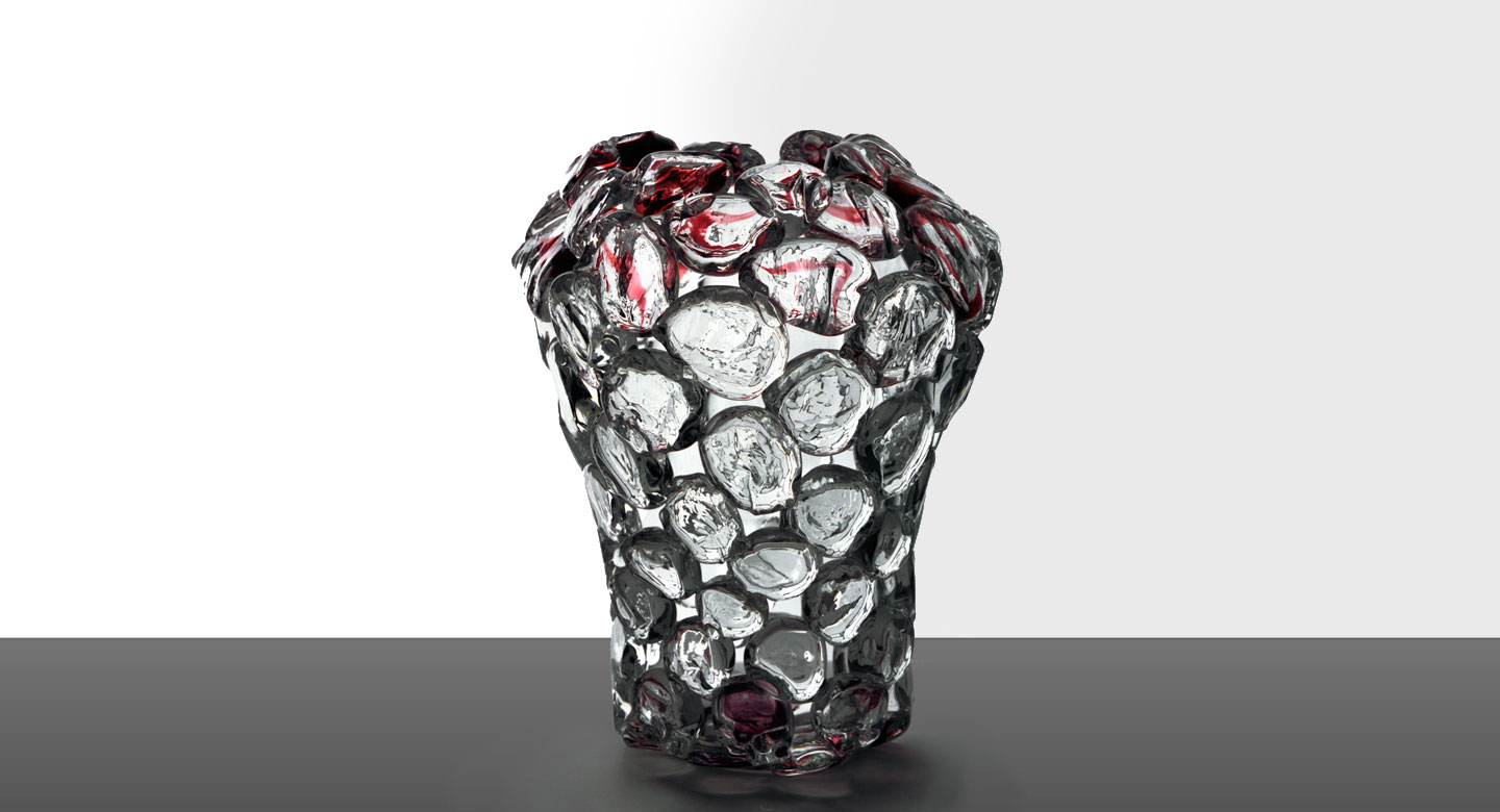 Clear crystal vase with red